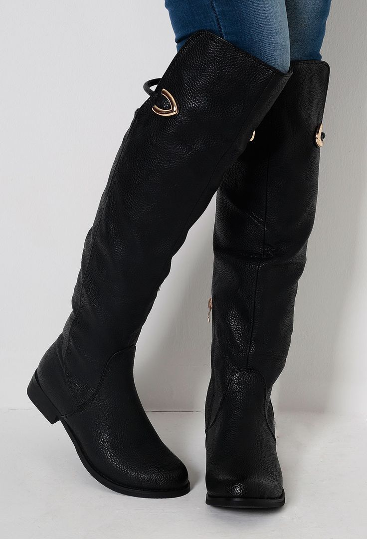 Portland Black Pull On Knee High Riding Boots
