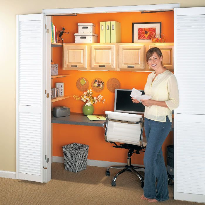 Compact Closet Office | My Home My Style eNotes - gives steps to make this organized little office