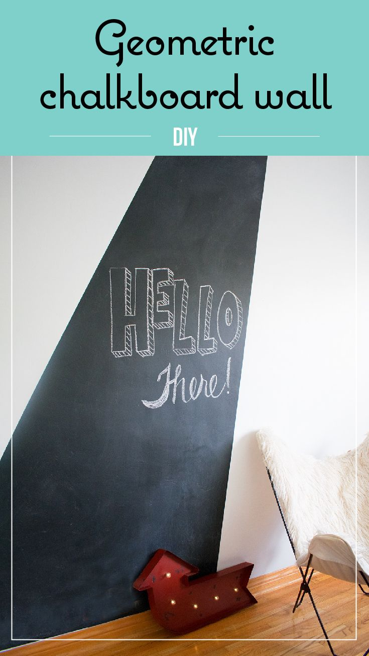 paint a chalkboard wall, geometric chalkboard wall, fix a damaged wall, teenager bedroom, teen room, design wall