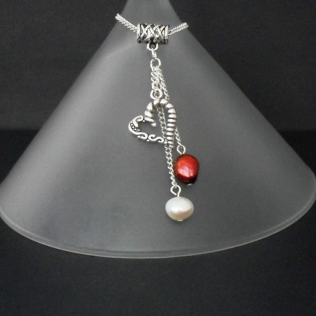 Red & white pearl & heart charm cluster necklace by Beadstorm Jewellery