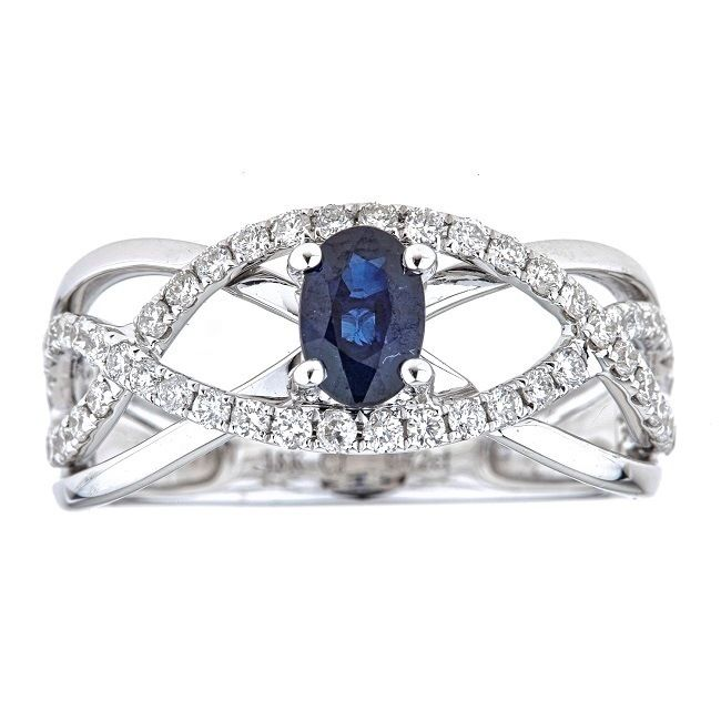Anika and August 18k White Gold Oval-cut Ceylon Sapphire and 3/5ct TDW Diamond Ring