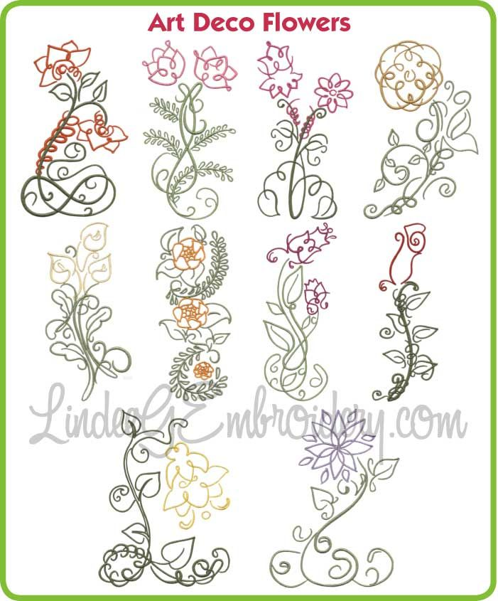 Art deco flowers collections machine embroidery
