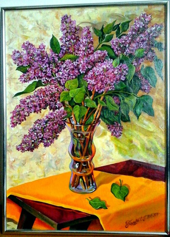 Sergey Romanov масло, холст, картон 2014 г. ( 510×370 ) Сирень