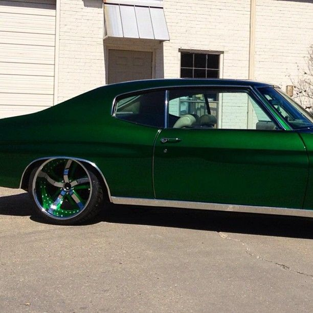 chevelle. candy green with forgiatos lowered