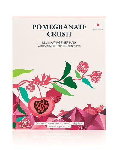 Brighten and smooth skin tone with natural pomegranate fruit extract and vitamin E. A biodegradable, natural fiber sheet mask that snugly fits the contours of your face, ensuring optimal delivery of v