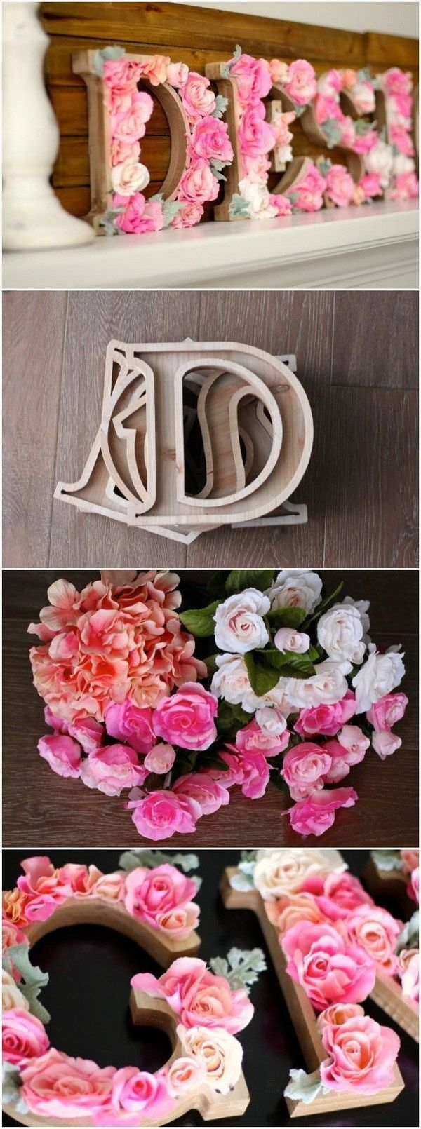 DIY Rustic Letters With Flowers: A wood sign with flowers that says DESIGN! It is perfect for a teen girl's bedroom decor!