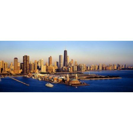 Aerial view of a city Navy Pier Lake Michigan Chicago Cook County Illinois USA Canvas Art - Panoramic Images (30 x 12)