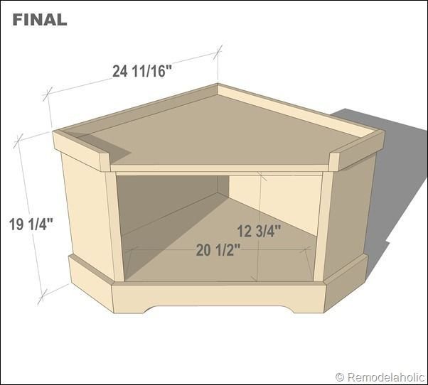 DYI corner-storage-bench - spec's and step-by-step instructions.