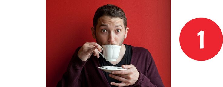 1. Jon Richardson Some hot water goes in first to warm the mug, then is tipped out before milk and tea bag go in together with one sugar and fill to the top [with water]. Leave for a minute, stir t…