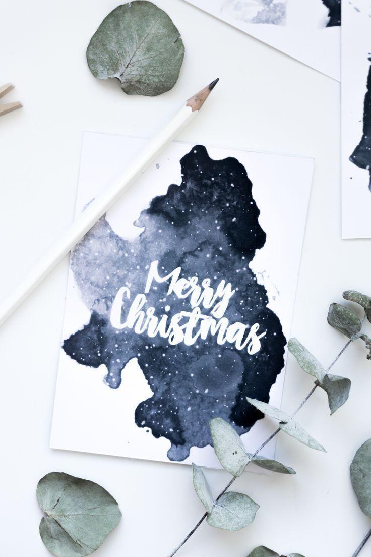 Weihnachtskarten Selber Machen Lettering Amp Aquarell Aquarell