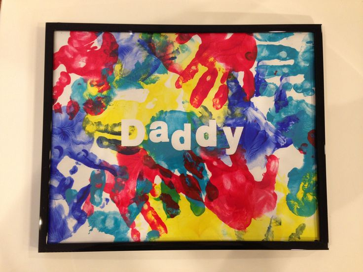 Homemade Father's Day present from toddler. Apply self-adhesive letters before painting, then remove carefully once dry.