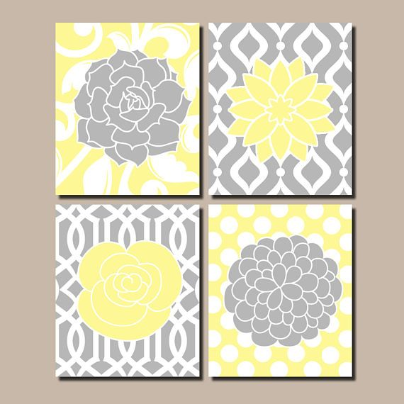 Flower Wall Art, Flower Pattern Art, Floral Bedroom Pictures, Yellow Gray Nursery Decor, Yellow Gray Bathroom Decor,Canvas or Print Set of 4