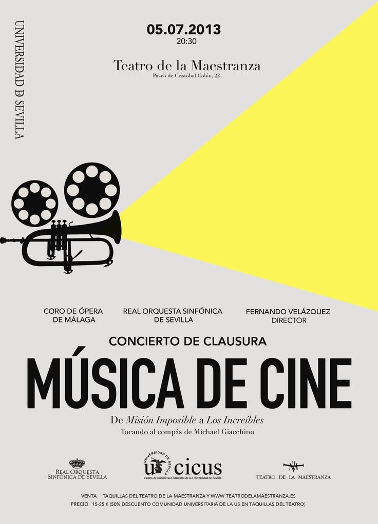 ¡Ya tenemos cartel de nuestro Concierto de Clausura! Este año sorprendemos con Música de Cine: http://www.comunicacion.us.es/node/10827  La Real Orquesta Sinfónica de Sevilla, acompañada por el Coro de Ópera de Málaga, interpretará algunas suites de películas tan populares como Ratatouille, Misión imposible, Los increíbles o Star Trek.
