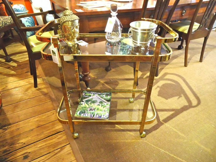 Schnazzy Brass Midcentury Bar Cart | From a unique collection of antique and modern bar carts at https://www.1stdibs.com/furniture/tables/bar-carts/