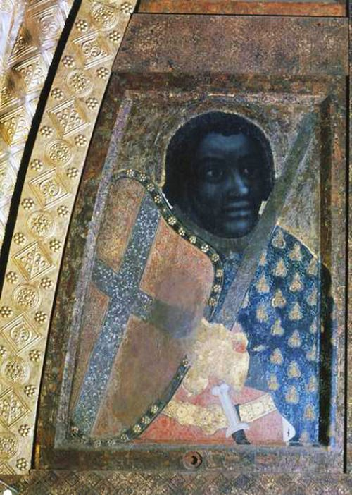 c. 1367 - Theodoric of Prague or Master Theoderic - Bohemia - Saint Maurice  Painted panel.  Karlštejn Castle, Chapel of the Holy Cross, east wall of the choir, right side of the lower register. Prague, Czech Republic.     |People of Color in European Art History