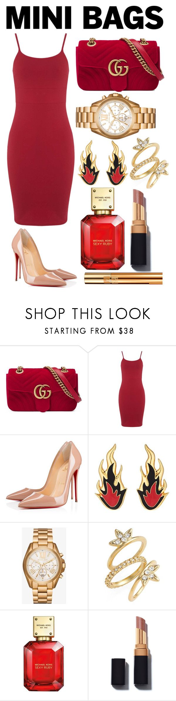 """Untitled #34"" by kyliemg45 ❤ liked on Polyvore featuring Gucci, Miss Selfridge, Christian Louboutin, AMBUSH, Michael Kors, Luv Aj and Yves Saint Laurent"