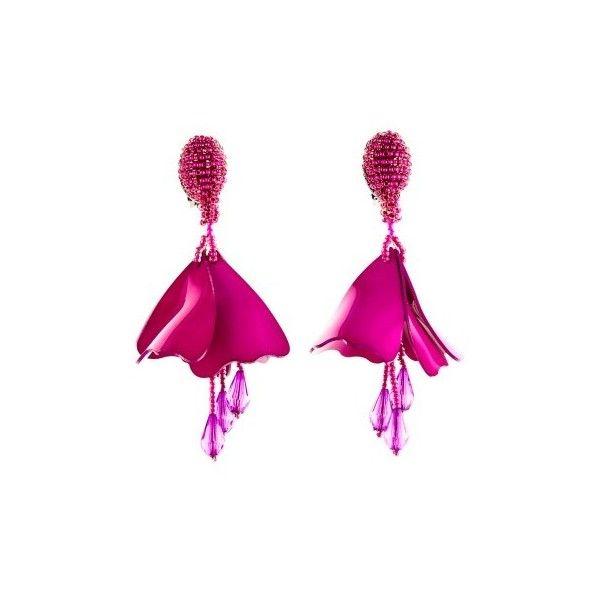 Oscar de la Renta Magenta Mini Impatiens Drop Earrings ($350) ❤ liked on Polyvore featuring jewelry, earrings, long drop earrings, nickel free clip on earrings, long clip on earrings, nickel free earrings and clip earrings