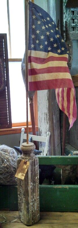 American Flag...in an old holder.