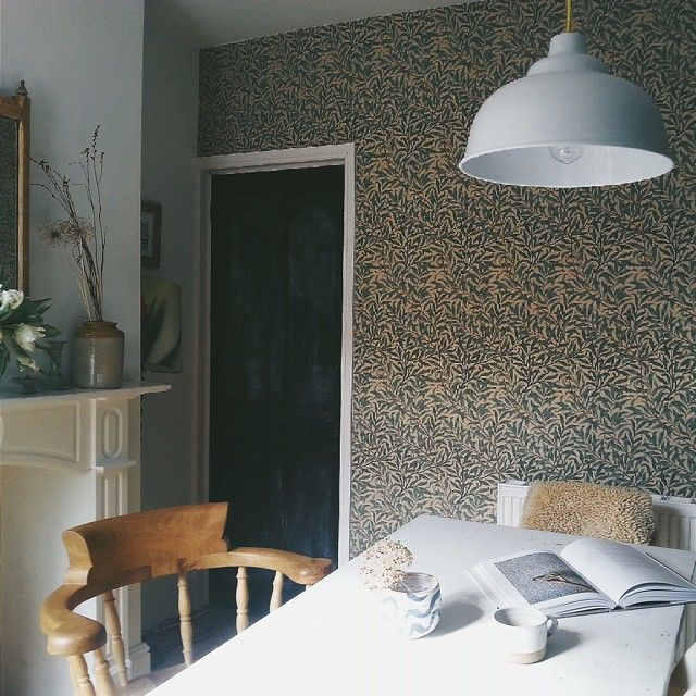 Lou Archell's home wallpaper Willow Boughs pattern I Remodelista