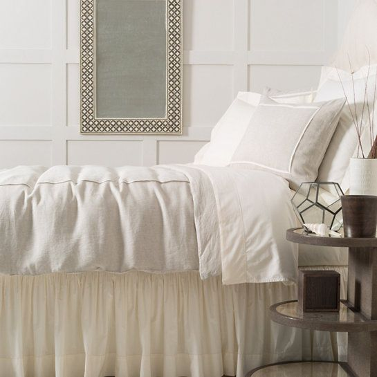 Pine Cone Hill Keaton Linen Natural Duvet Cover. Take a tailored approach to bed dressing with this neutral linen chambray duvet cover. Featuring a single ivory pleat, this comfortable duvet is a classic piece with timeless appeal. Crafted to be an exact match to our Hampton Ticking Linen Natural duvet, shams, and decorative pillows.