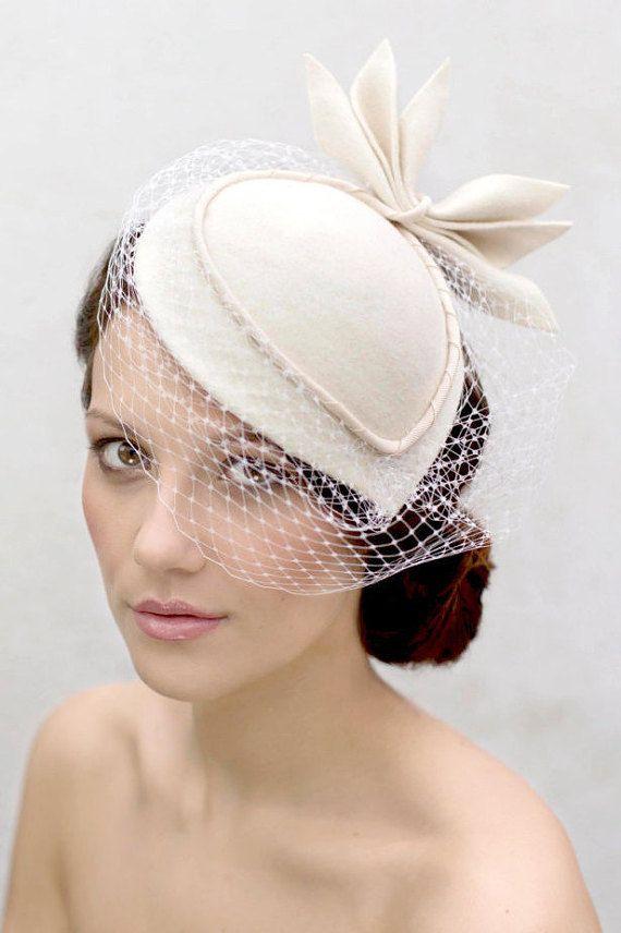 Birdcage Veil Cocktail Hat, Felt Hat, Vintage Style Wedding Perch Hat with Designer Leaf Detail - Sara