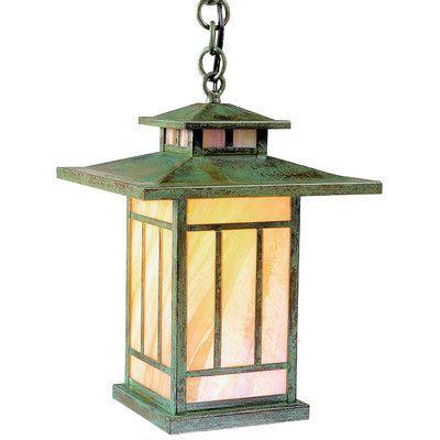 """Arroyo Craftsman Kennebec 1-Light Outdoor Hanging Lantern Size: 12.25"""" H x 8.75"""" W, Finish: Satin Black, Shade Type: Tan"""