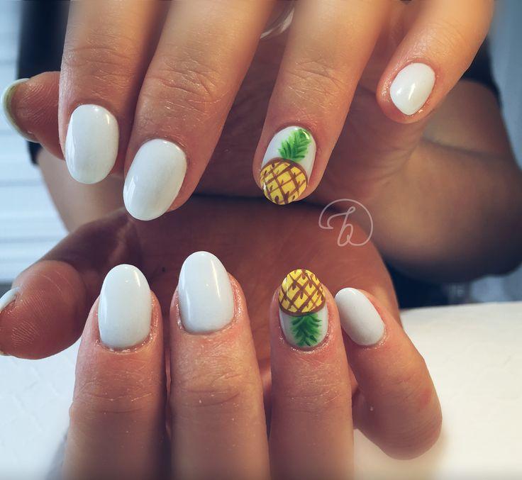 #leboudoirespacebeaute #ongleslaval #lavalnails #healtynails #naturalnails #nailart #ananas #summer #babyblue
