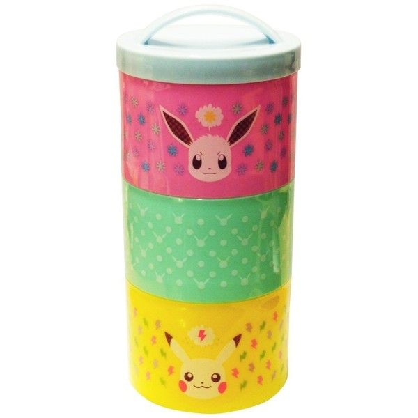 "Small Planet Pokemon Bottle type 3 storage lunch box ""Pikachu Eevee""... ($22) ❤ liked on Polyvore featuring home, kitchen & dining, food storage containers, pokemon lunch box and planet lunch box"