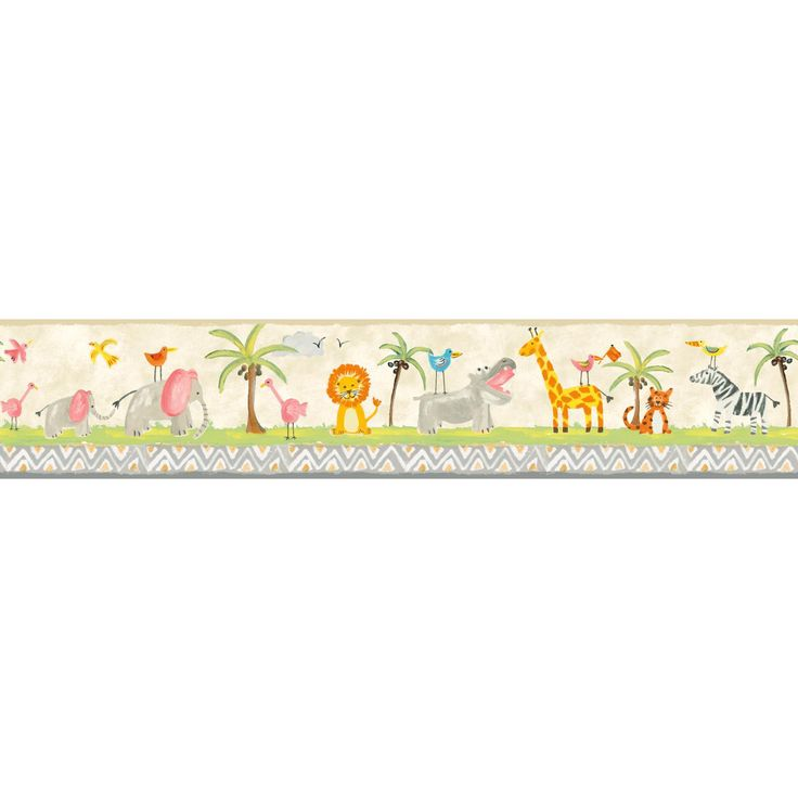 York Wallcoverings Growing Up Kids Jungle Boogie Removable Wallpaper Border, Beige & Tan
