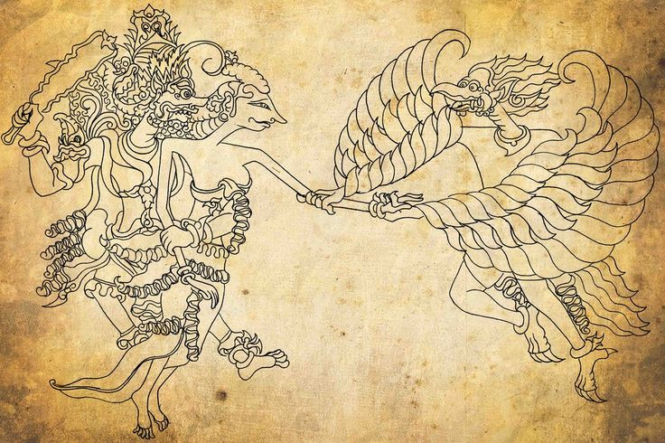 Jatayu Trying to Save Shinta from Rahwana (Ramayana)