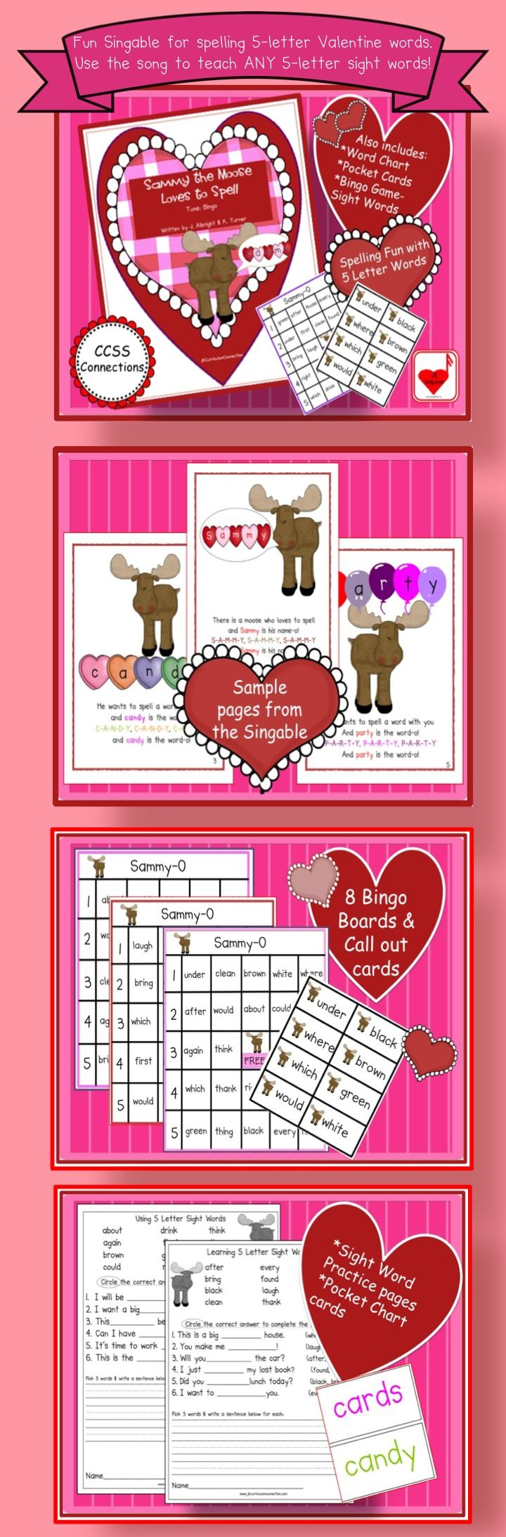 Valentines Day Spelling Song Sammy the Moose Loves to SPELL