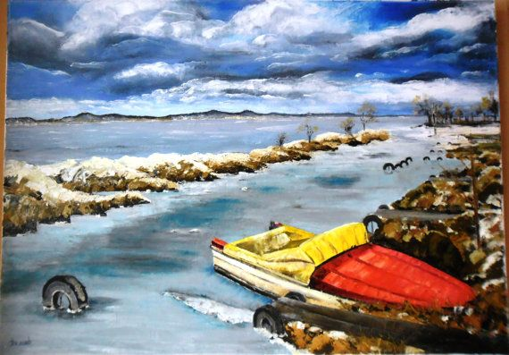 Art  Oil Painting  Original Painting Balaton in by kezulegsajat