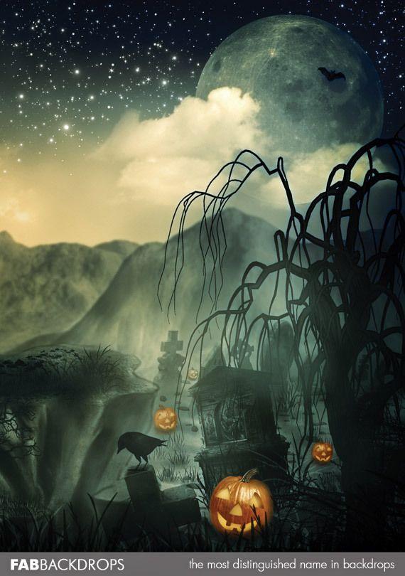 Haunted Graveyard Halloween Backdrop