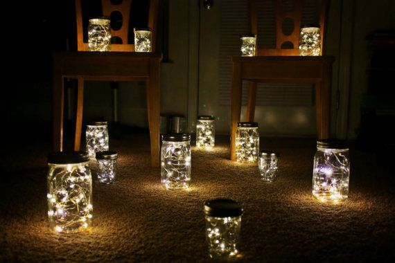 """Unique lighting idea – each jar is """"loaded"""" with a string of battery-powered lig"""