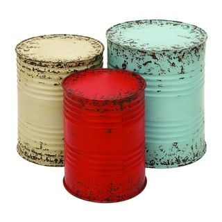 Shop for Accent Collection Blue/Off-white/Red Metal Drum Tables (Set of 3). Get free shipping at Overstock.com - Your Online Furniture Outlet Store! Get 5% in rewards with Club O! - 18824307