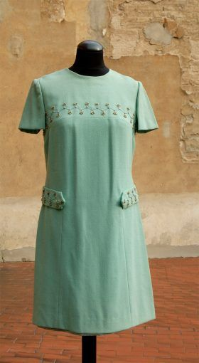 Original 1970s dress, brand new - Tiffany blue, with rich embroidery with beads on the neckline and on the sides and button closure at the back.