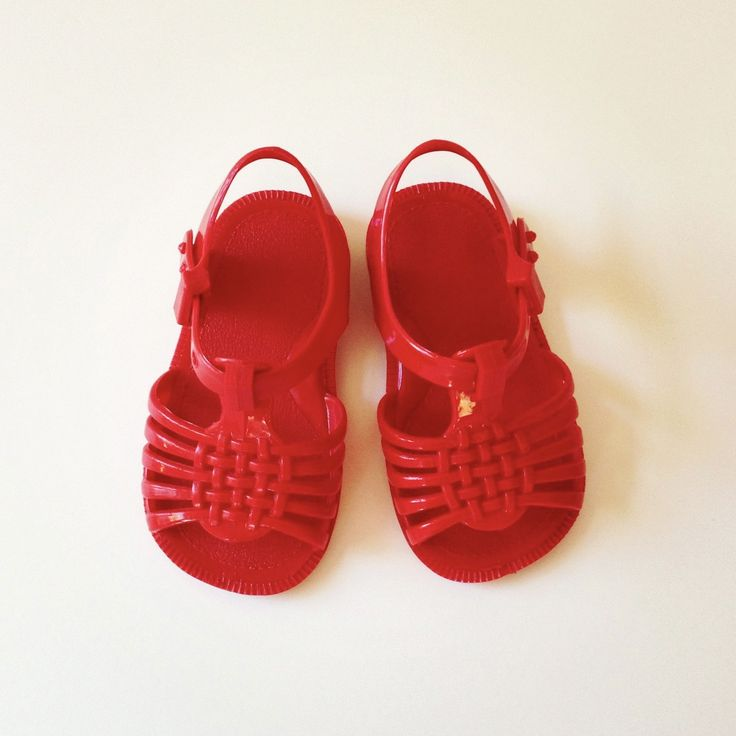 1970 S Red Jelly Sandals Size 3 Infant Chang E 3