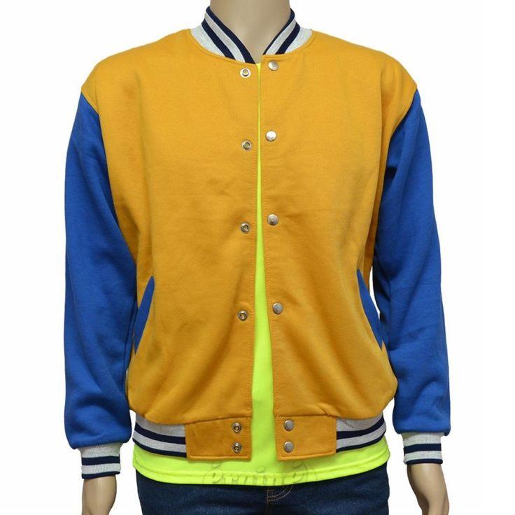 Varsity Jacket Yellow Royal Blue