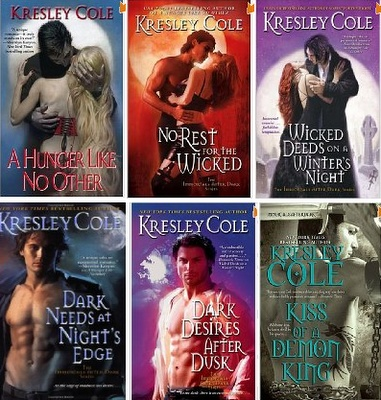 Kresley Cole's Immortals After Dark Series is some of the best writing I have ever read!!!!!!!!!!!!! If you like paranormal romance, PLEASE GET HER BOOKS!!!