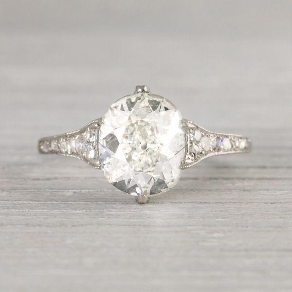 Image of 1.82 Carat Vintage Cushion Cut Engagement Ring