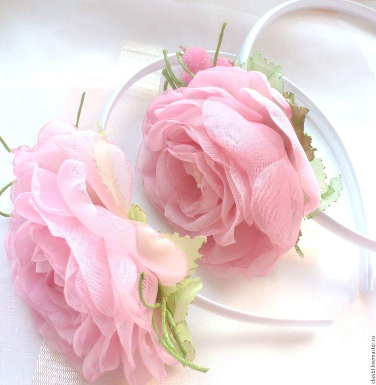 """Купить Ободки """"FAMILY LOOK """" Цветы из ткани. - розовый, ободок для волос, ободок с цветами"""