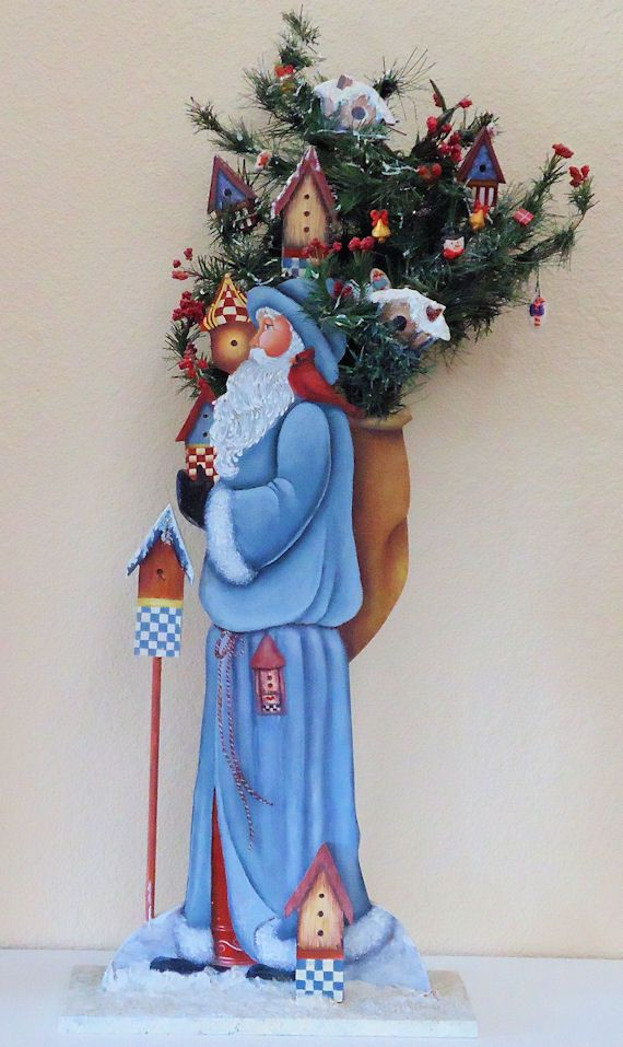 Decorative painting: Hand painted Santa Claus tole figure with Christmas tree and Decorations. Sold. http://www.visualgemsstudio.com