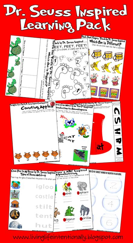 A Collection of 50 Free Dr. Seuss Printables including Math, Games, Writing…