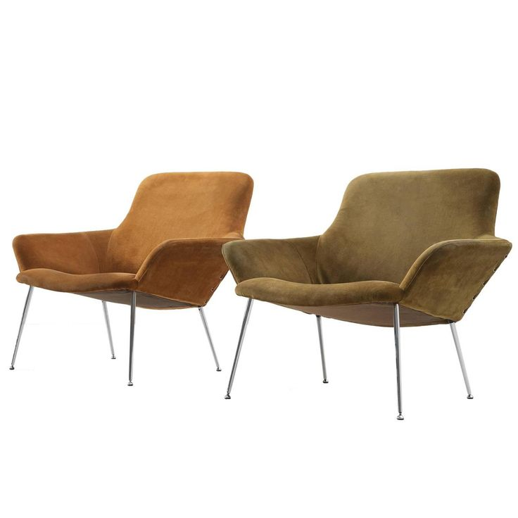 Poul Nørreklit Set of 2 Easy Chairs in Cognac and Green Suede