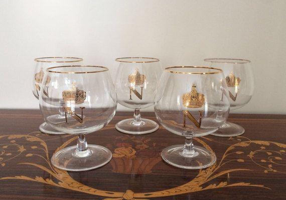 5  Napoleon cognac glasses / stylish glasses for by VintaFai