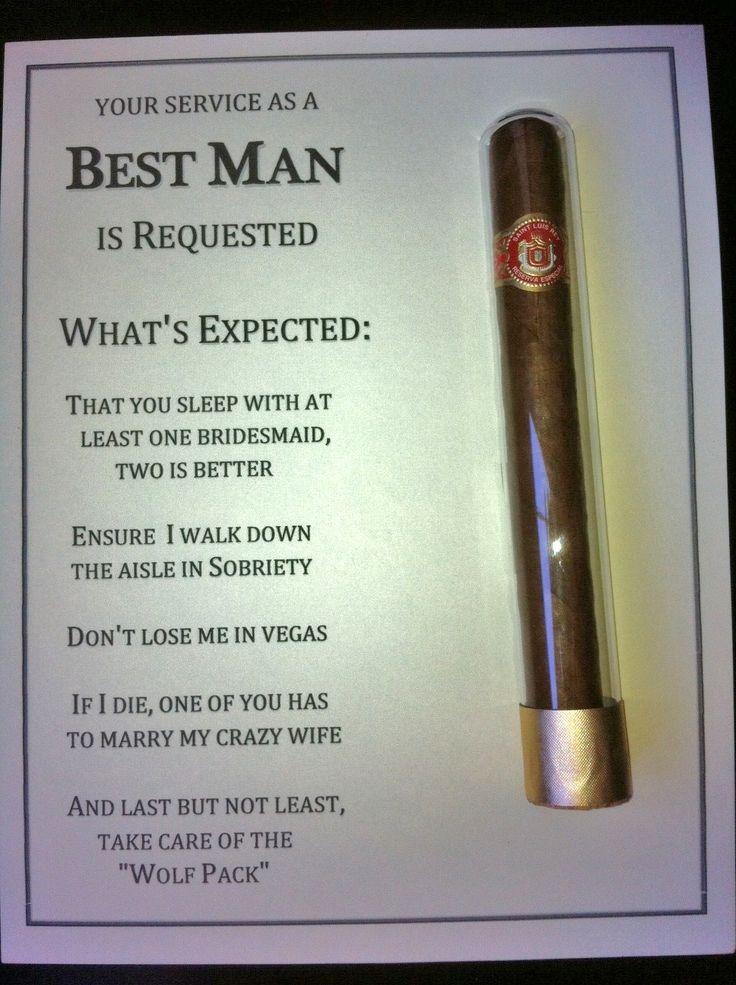 Diy Best Man Groomsman Invites With Cigar Used