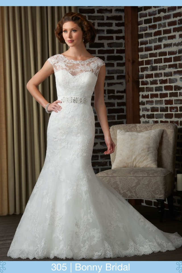 Lace trumpet wedding gown beaded belt high lace neck for Beaded trumpet wedding dress