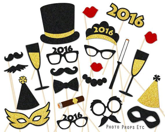New Year photo booth props. High quality felt photo props by PhotoPropsEtc