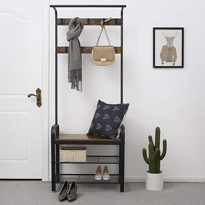 Amazonsmile Songmics Vintage Coat Rack Shoe Bench Hall Tree Entryway Storage Shelf Wood Look Accent Furniture With Metal Frame Hallway Unit Hallway Seating Cool Dorm Rooms