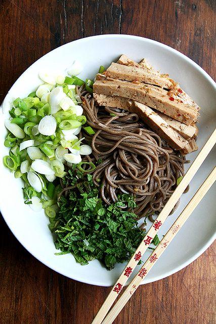 Soba Salad with Marinated Tofu, Mint & Scallions | added kale
